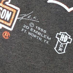 Harley-Davidson Shirts - Vtg 1986 HD 3D Emblem Good Guys Wear Black Double